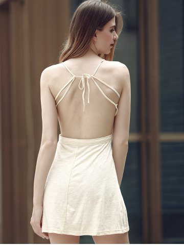 Shop Alluring Spaghetti Strap Self-Tie Backless Women's Dress - 2XL OFF-WHITE Mobile
