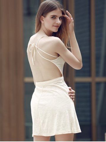 Latest Alluring Spaghetti Strap Self-Tie Backless Women's Dress - 2XL OFF-WHITE Mobile