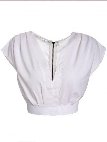 Online Stylish V-Neck Sleeveless Self-Tie Crop Top For Women