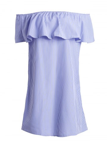 Off The Shoulder Stripe Short Dress - BLUE XL
