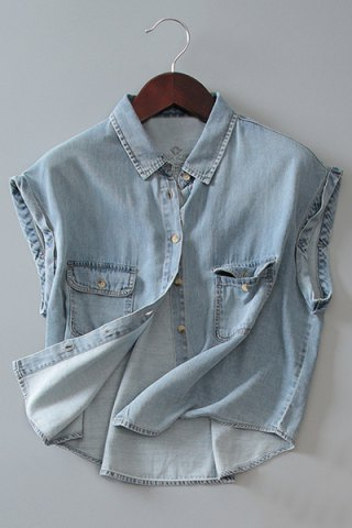 Hot Street Style Shirt Collar Sleeveless Bleach Wash Front Pockets Design Women's Denim Shirt