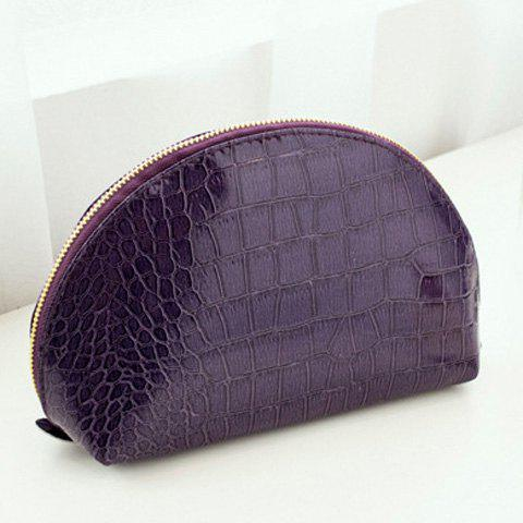 Hot Stylish Solid Color and Crocodile Print Design Clutch Bag For Women - PURPLE  Mobile