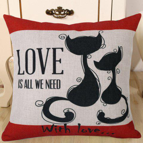 Shop Fashion Kitten Lovers Pattern Square Shape Flax Pillowcase (Without Pillow Inner) RED