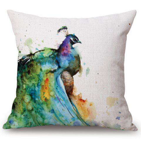 Hot Fashion Watercolor Peacocks Pattern Square Shape Flax Pillowcase (Without Pillow Inner)