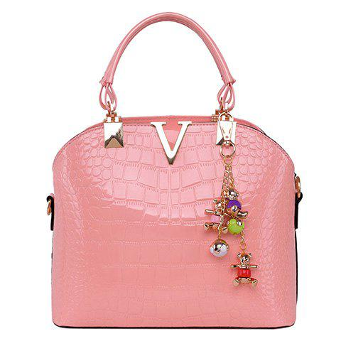 Fashion Fashionable Embossing and Metal Design Tote Bag For Women SHALLOW PINK