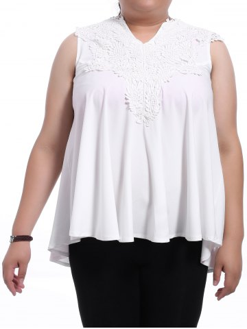 Latest Sweet V-Neck White Lace Spliced Sleeveless Blouse For Women WHITE XL