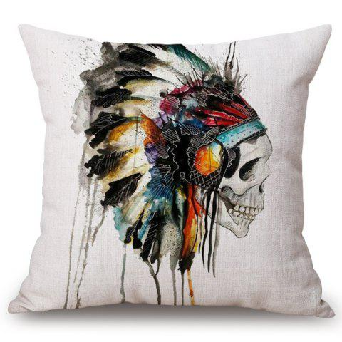 Best Fashion Feather Crest Skull Watercolor Pattern Square Shape Flax Pillowcase (Without Pillow Inner)
