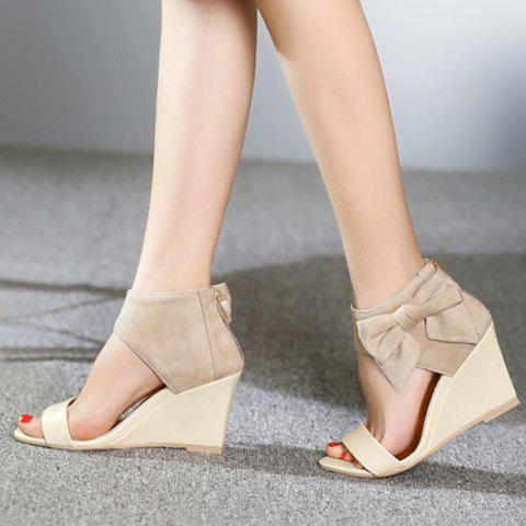 Outfits Stylish Bow and Zipper Design Sandals For Women - 38 APRICOT Mobile