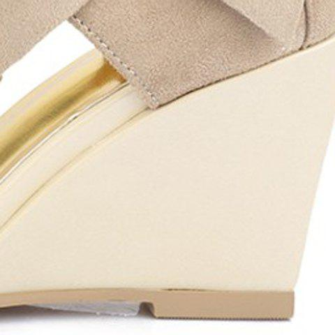 Sale Stylish Bow and Zipper Design Sandals For Women - 38 APRICOT Mobile