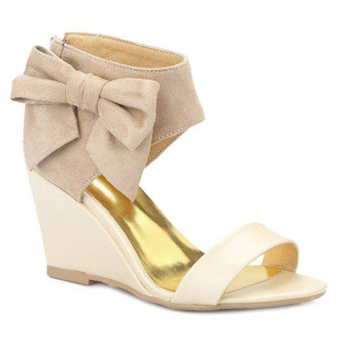 Outfits Stylish Bow and Zipper Design Sandals For Women - 37 APRICOT Mobile