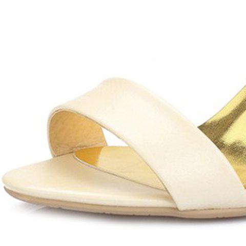 Cheap Stylish Bow and Zipper Design Sandals For Women - 37 APRICOT Mobile