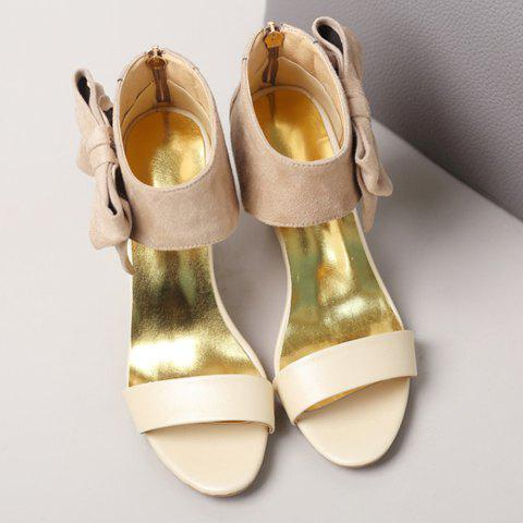 Best Stylish Bow and Zipper Design Sandals For Women - 37 APRICOT Mobile