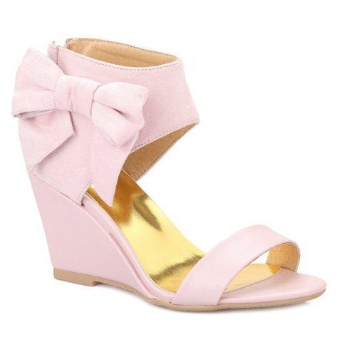 Online Stylish Bow and Zipper Design Sandals For Women - 38 PINK Mobile