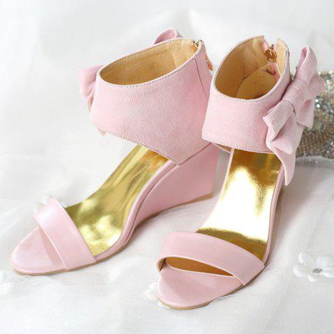 Shop Stylish Bow and Zipper Design Sandals For Women - 38 PINK Mobile