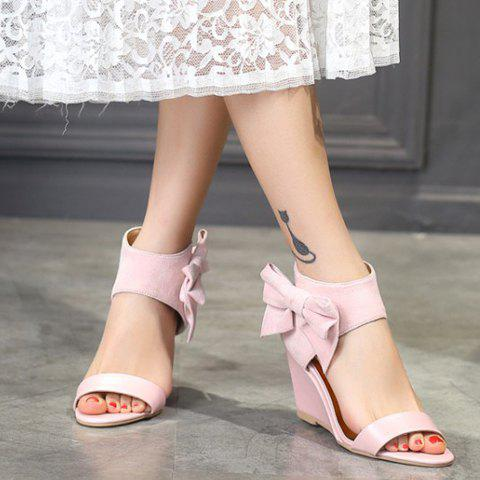 Latest Stylish Bow and Zipper Design Sandals For Women - 38 PINK Mobile