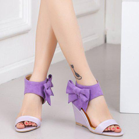 Shops Stylish Bow and Zipper Design Sandals For Women - 36 PURPLE Mobile