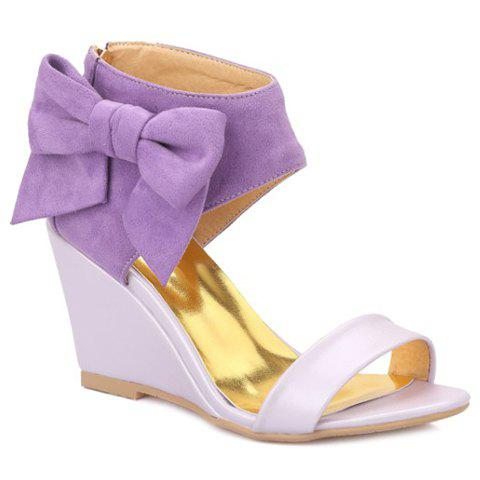 Outfit Stylish Bow and Zipper Design Sandals For Women - 38 PURPLE Mobile