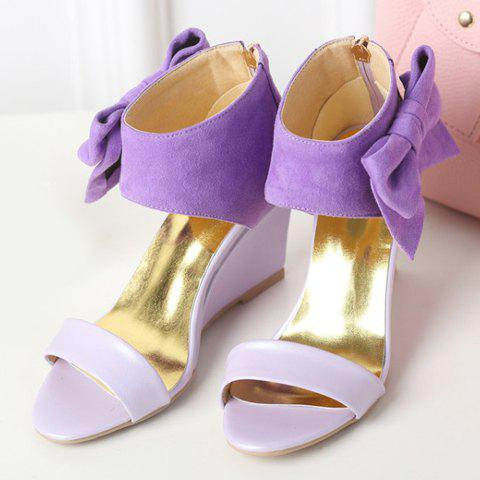Trendy Stylish Bow and Zipper Design Sandals For Women - 38 PURPLE Mobile