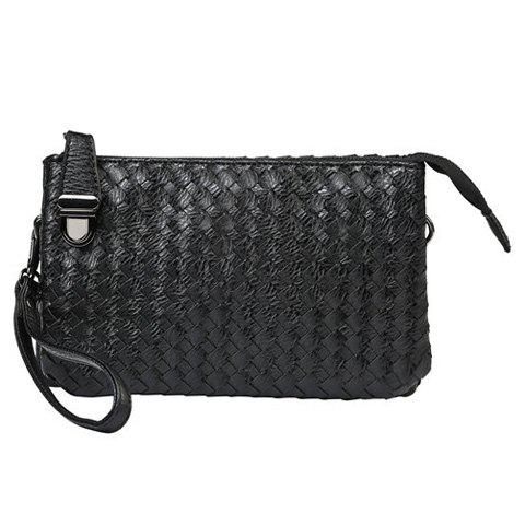 Online Stylish Weaving and Black Color Design Clutch Bag For Men