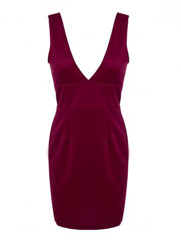 Online Chic Plunging Neck Sleeveless Solid Color Low-Cut Dress For Women WINE RED M