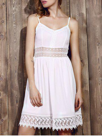 Hot Strappy Lace Panel Going Out Flare Dress WHITE M