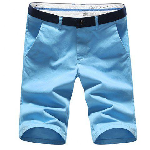 Outfits Modish Simple Color Block Straight Leg Zip Fly Shorts For Men