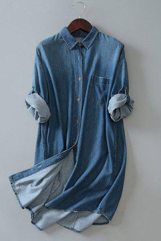 Outfit Button Up Denim Long Sleeve Shirt Dress DEEP BLUE ONE SIZE(FIT SIZE XS TO M)