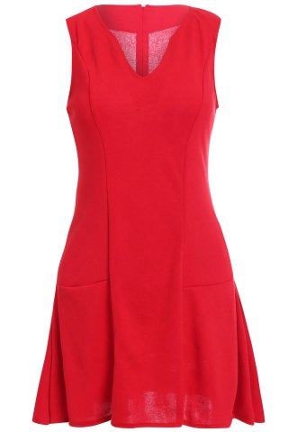 Outfits Elegant V-Neck Sleeveless Women's Flare Dress