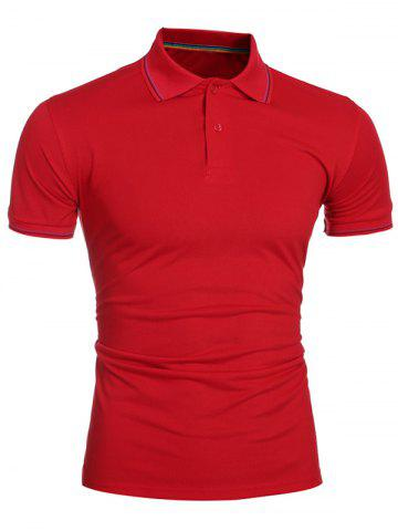 Outfits Laconic Turn-down Collar Colorful Stripes Short Sleeves Polo T-Shirt For Men RED M