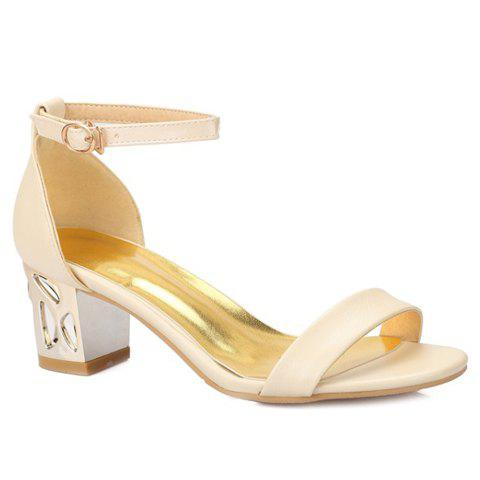 Affordable Ladylike Chunky Heel and Ankle Strap Design Sandals For Women