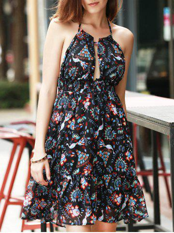 Latest Halter Backless Peacock Print Swing Casual Dress