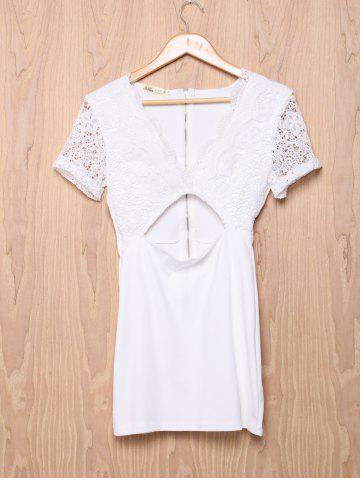Large WHITE Low Cut Short Sleeve Hollow Out Bodycon Dress For Women