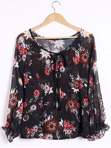 Shop Sexy Plunging Neck Long Sleeve Floral Print Blouse For Women