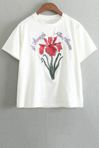 Unique Stylish Round Neck Short Sleeve Floral Embroidery Women's T-Shirt