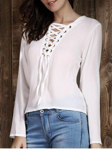 Affordable Sexy Plunging Neck Long Sleeve Lace Up T-Shirt For Women