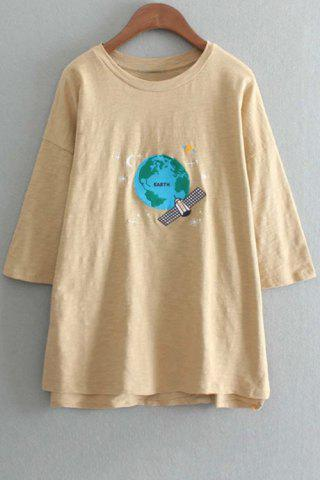 Fancy Stylish Round Neck 3/4 Sleeve Earth Embroidery Women's T-Shirt