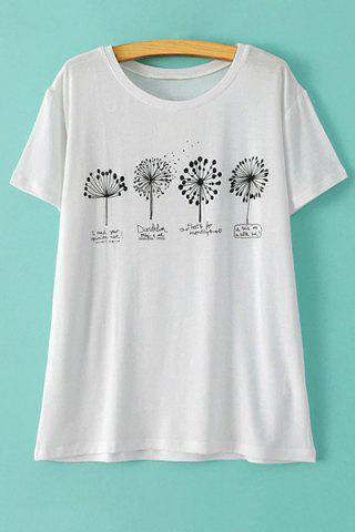 Unique Stylish Round Neck Short Sleeve Dandelion Print Women's T-Shirt