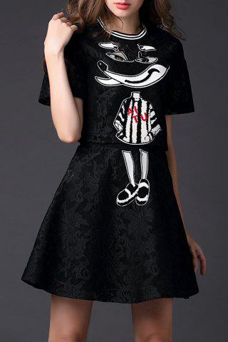 Discount Zippered Animal Print Tee and Skirt Twinset