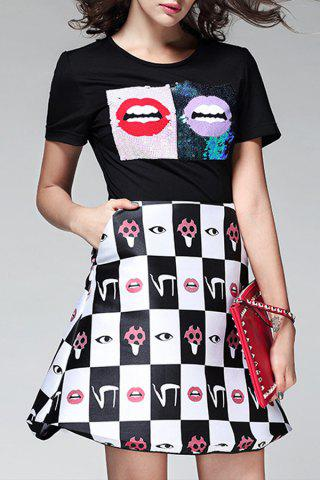 Store Sequins Printed A Line Dress