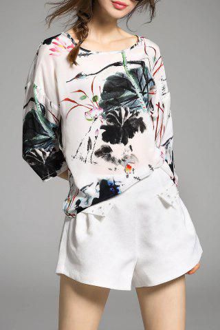 Affordable Scoop Neck Silk Blouse With Chinese Painting