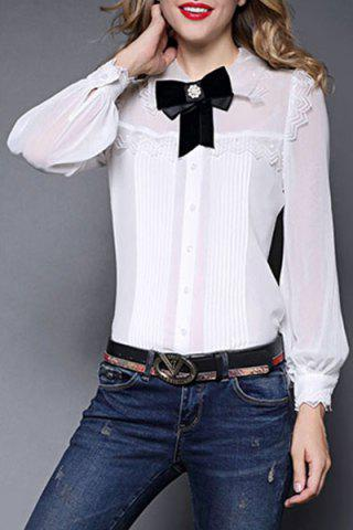 Sale Shirt Collar Bowknot Ruched Blouse