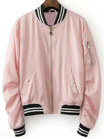 Outfits Stylish Pink Women's Baseball Jacket