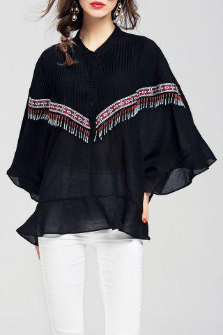 Store Batwing Sleeve Beaded Cloak Blouse