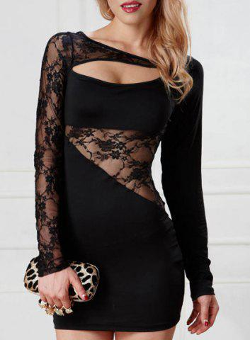 Trendy Long Sleeves Hollow Out Lace Panel Women's Dress