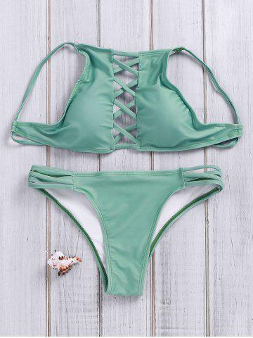 New Lace Up Criss Cross Halter Bathing Suits GREEN S