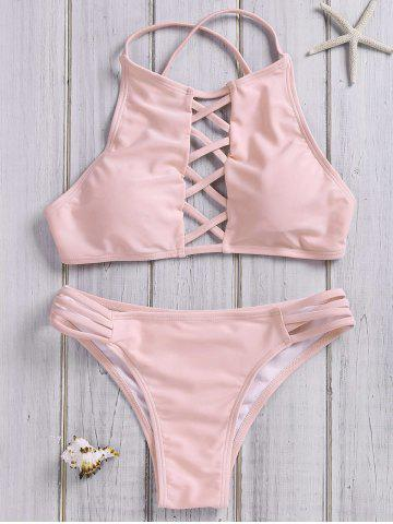 Chic Lace Up Criss Cross Halter Bathing Suits - M PINK Mobile