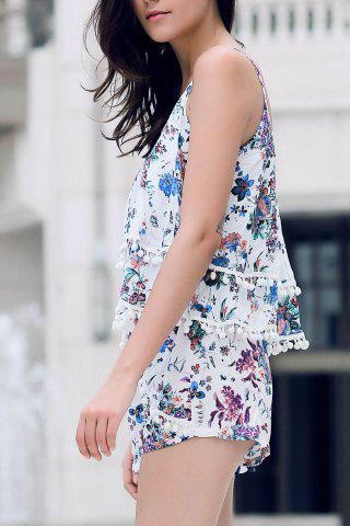 Outfits Trendy Floral Print Layered Cami Top and Shorts Women's Twinset - S BLUE Mobile