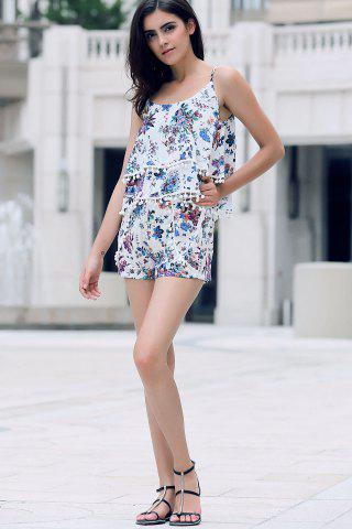 Fancy Trendy Floral Print Layered Cami Top and Shorts Women's Twinset - S BLUE Mobile