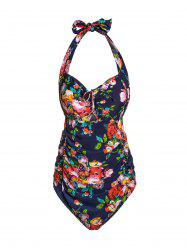 Women's Sexy Halter Cut Out Floral Print Plus Size One Piece Swimwear