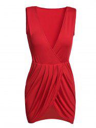 Sexy Plunging Neck Sleeveless Solid Color Mini Dress For Women -